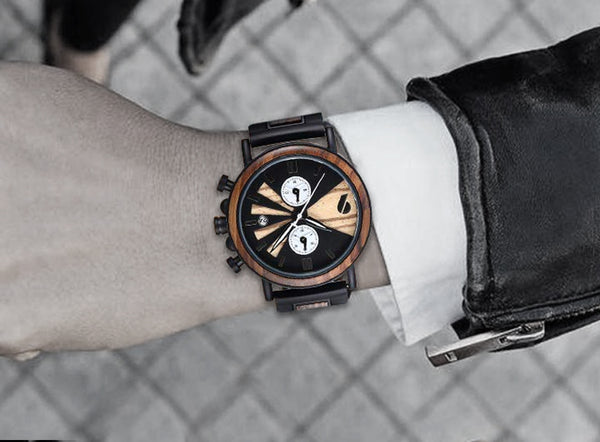 Mens Wooden Watches Handmade Watch Ebony Wood & Stainless Steel Combined Chronograph Wood Watch