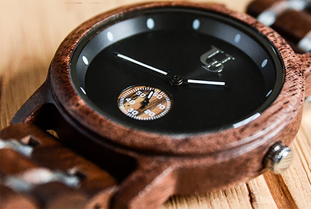 Minimalist Round Dark Wood Watch For Men Luxury Wood & Stainless Steel Combined Watch Band.jpg