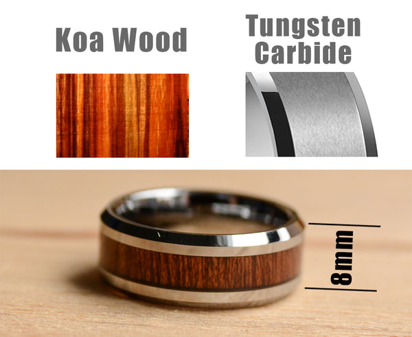 Tungsten Carbide Ring with Koa Wood Inlay 8mm Dimension