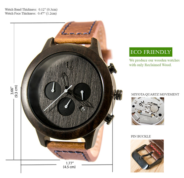 UD Mens Multi-Function Chronograph Ebony Wooden Watch with leather band-mens watch-gifts-on sale