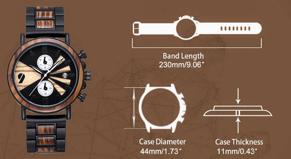 UD Mens Wooden Watches Handmade Watch Ebony Wood & Stainless Steel Combined Chronograph Wood Watch-dimensions