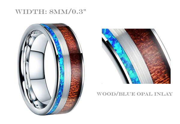 UD Tungsten Carbide Wedding Ring Real Blue Opal Inlay
