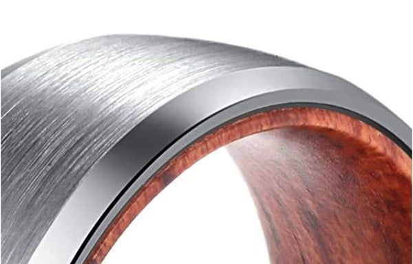 Tungsten Wedding Band for Men with Rosewood Sleeve Interior Comfort Fit