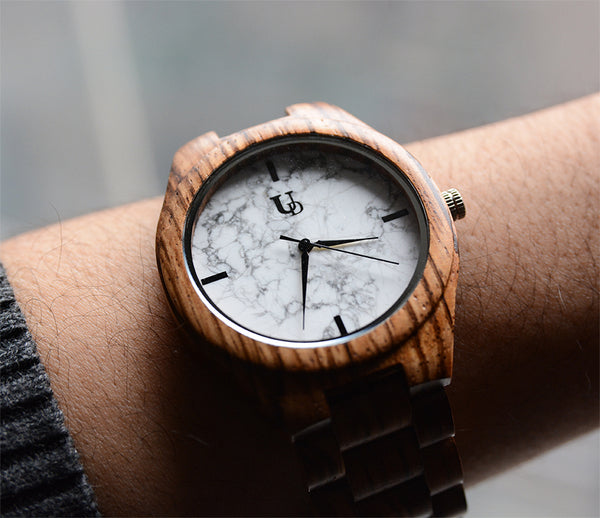 UD Unisex Wooden watch with real white marble stone dial
