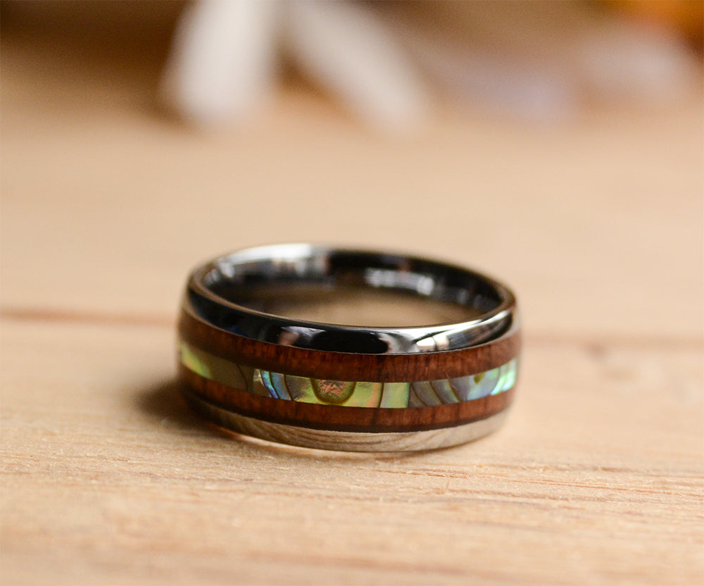 Abalone Shell and Wood Inlay Tungsten Wood Band