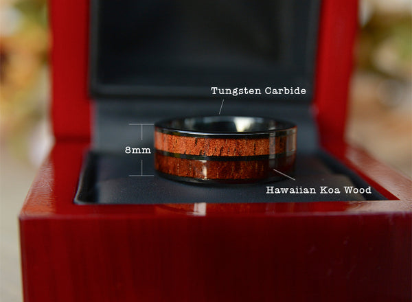 Urban Designer mens wood wedding bands-tungsten band