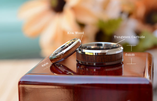 Wedding band set with wood inlay dimension