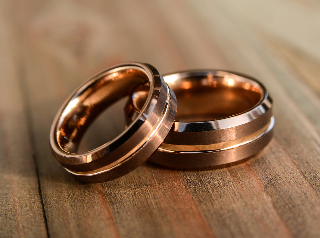 Wedding ring set - coffee and rose gold tungsten bands