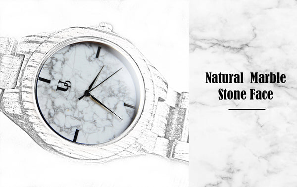 Wood watch for men with real white marble stone dial