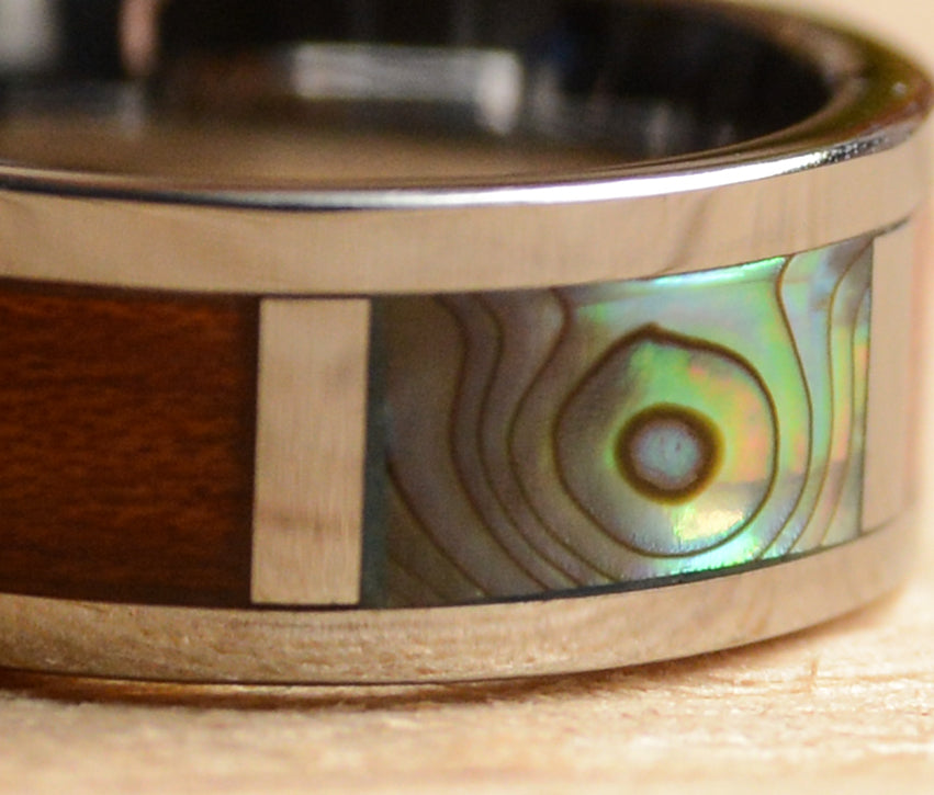 8mm Abalone Shell and Koa Wood Inlay Tungsten Ring
