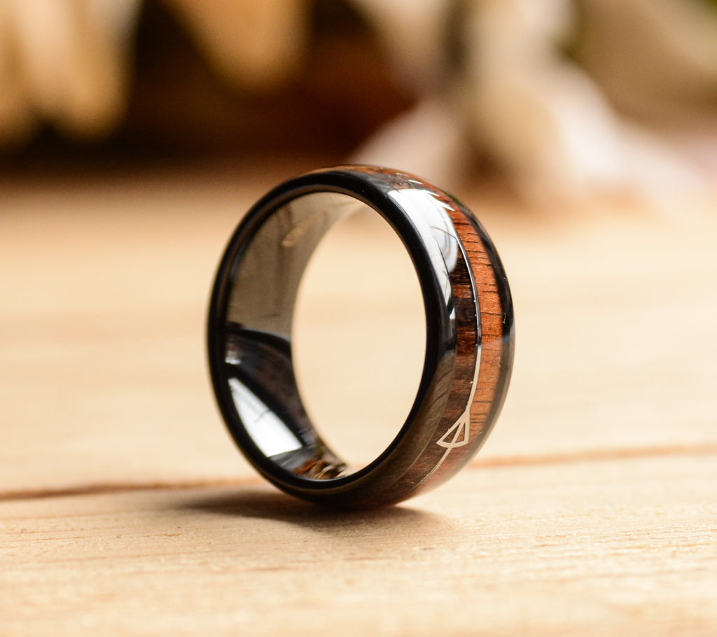 Black Tungsten Ring w/Cool Koa Wood Inlay and Sleek Silver Feathered Arrow