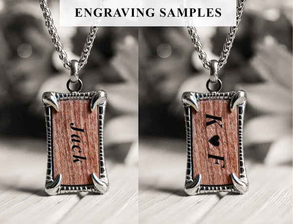 engraved Wood bracelet for men-engraving samples