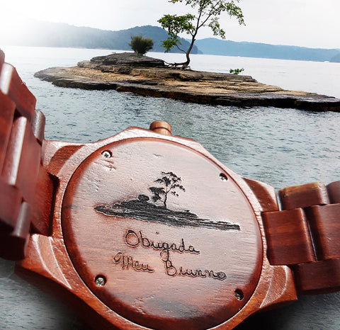 red wood watch engraved
