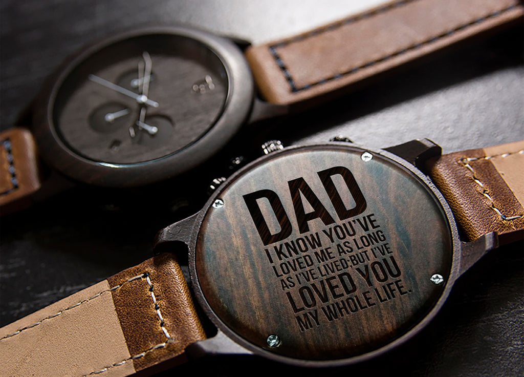 gifts for dad-engraved wood watches
