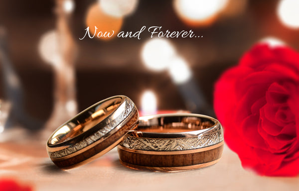 match his and hers rose gold  tungsten ring with meteorite and wood-matching wedding bands