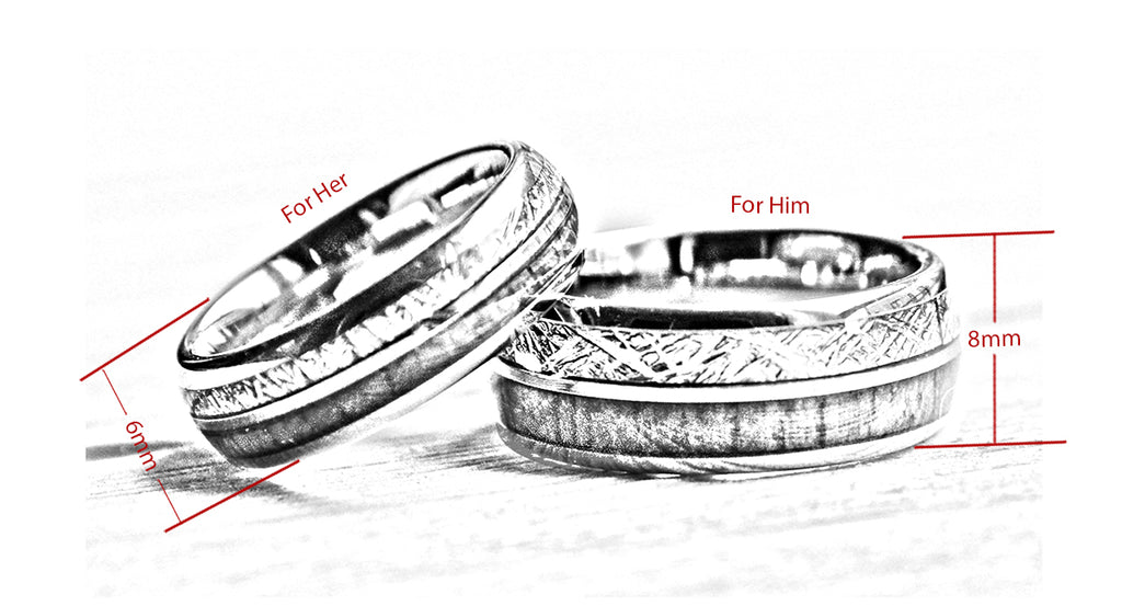 match his and hers rose gold  tungsten ring with meteorite and wood-wedding band wooden dimensions