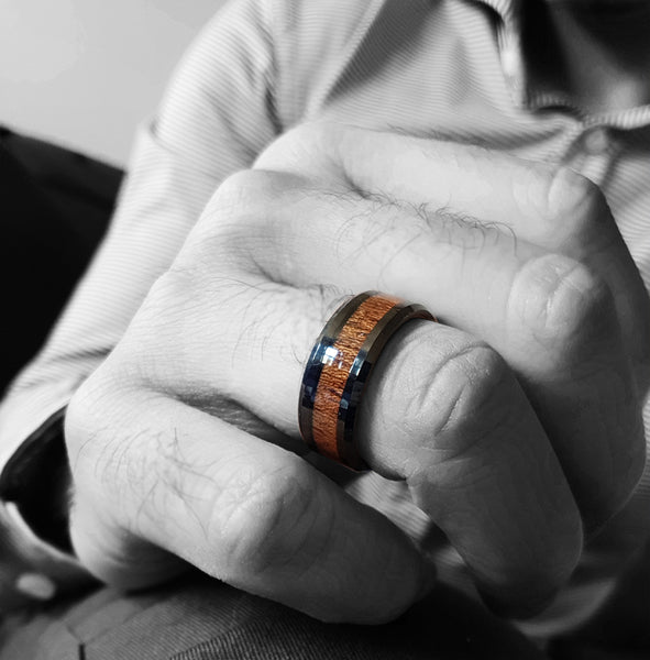 mens 8mm Black Tungsten Band with Redwood Inlay  Black Tungsten Ring-wooden engagement ring