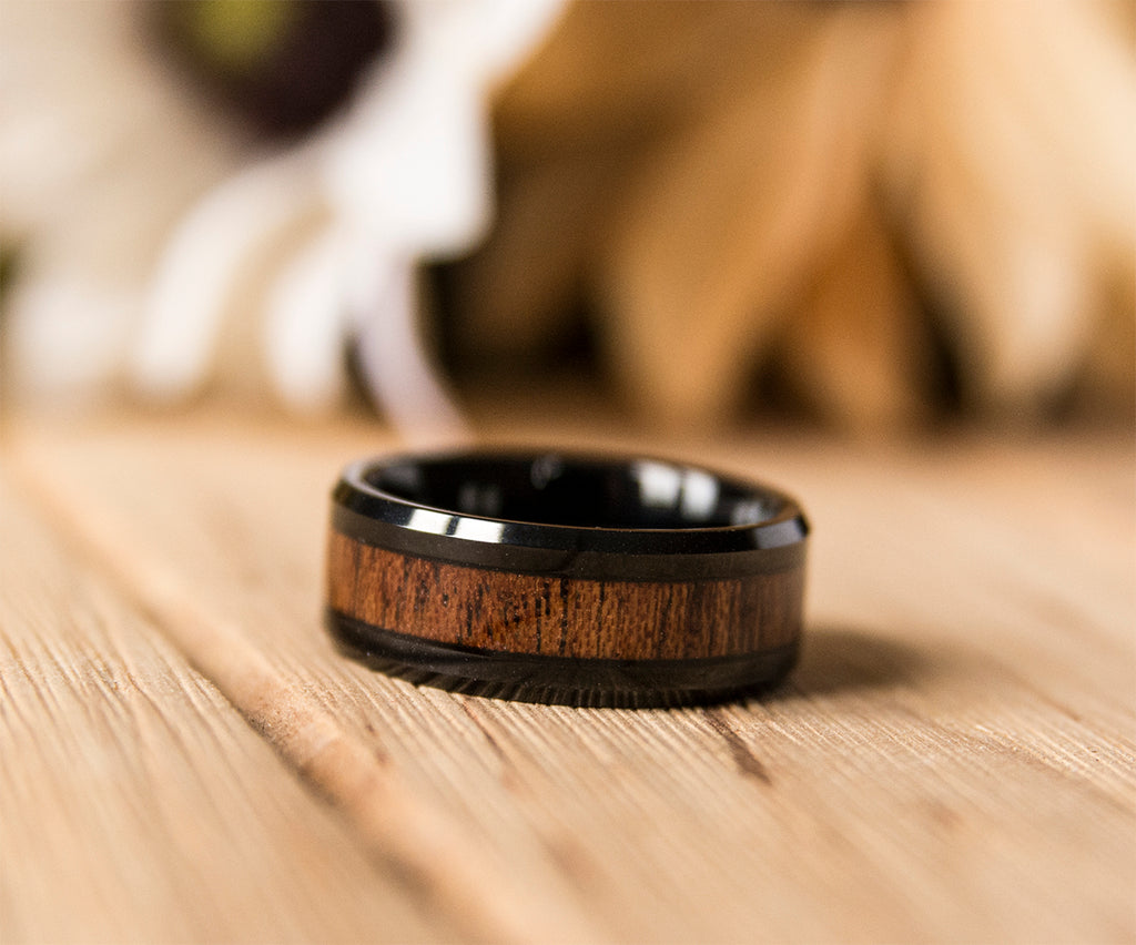 UD 8mm Mens Tungsten Band with Koa Wood Inlay Black Tungsten Ring
