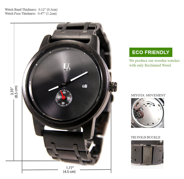 Mens Minimalist Round Black Wooden Watches