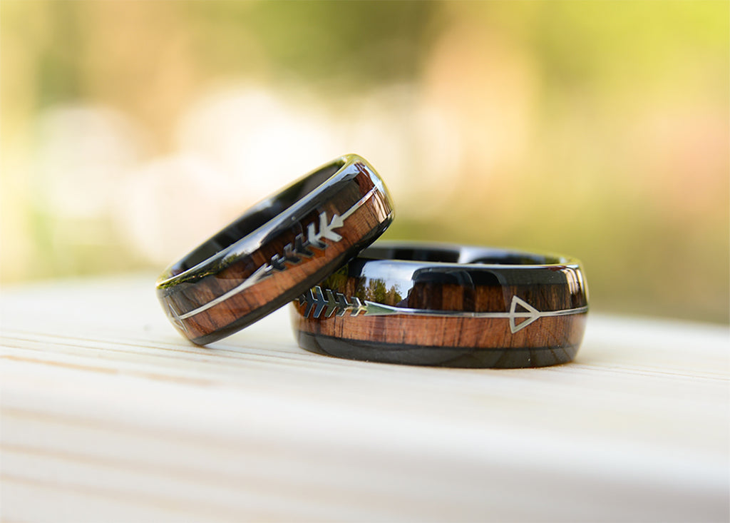urban designer Black his and hers Tungsten Band with Redwood Inlay and Damascus Steel Pattern  Black Tungsten Ring-wooden engagement ring.jpg