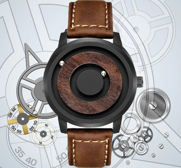 urban designer Cosmos Minimalist Wood Dial Scaleless Magnetic Wooden Watch with Premium leather band.jpg