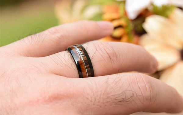 urban designer mens 8mm Black Tungsten Band with Redwood Inlay  Black Tungsten Ring-wooden engagement ring