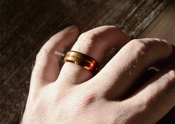 Mens wedding band Coffee & Rose Gold Tungsten Band 8mm