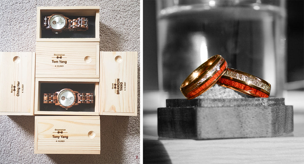 Wedding Trends - wood watches and wooden rings