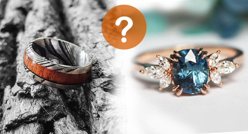 wood ring or diamond ring