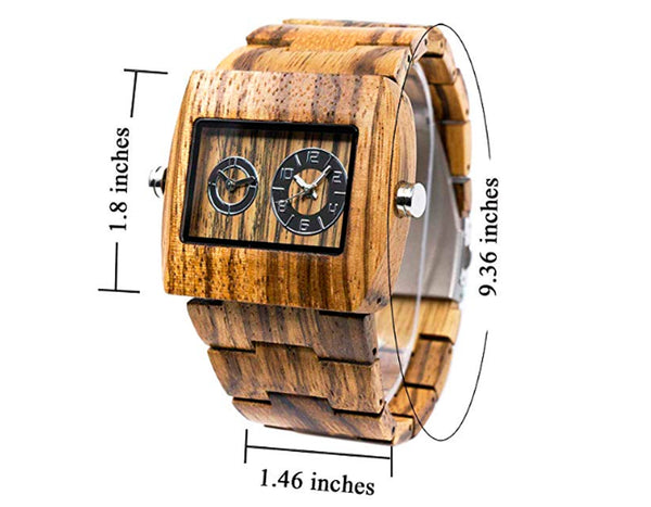 zebra wooden watches for men with dual panel