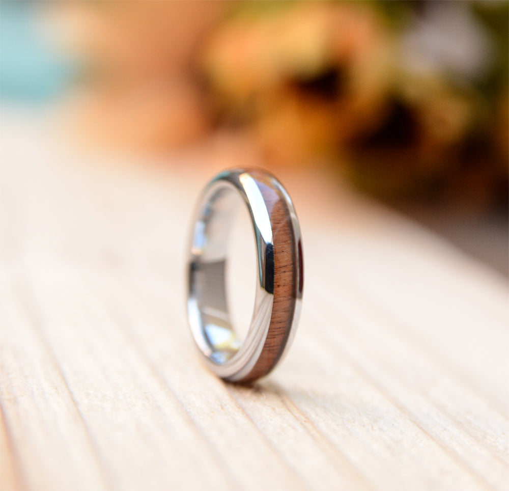 ood Wedding Band For Women - 4mm Tungsten Wedding Ring Domed with Real Koa Wood Inlay