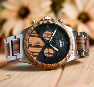 wooden watches for men 5 Hand Japanese Quartz Movement Wood and Brushed Stainless Steel