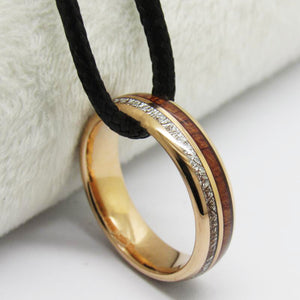 Wood Wedding Band For Women - 6mm Rose Gold Plated Tungsten Ring With Meteorite And Wood Inlay