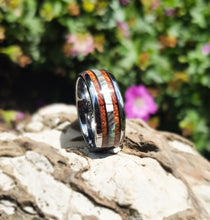 8mm Abalone Shell and Wood Inlay Tungsten Wood Band