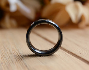 8mm Black Koa Wood Ceramic Ring Wedding Band Polished Finish Comfort Fit