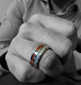 Deer antler and wood inlay wedding ring from Urban Designer.