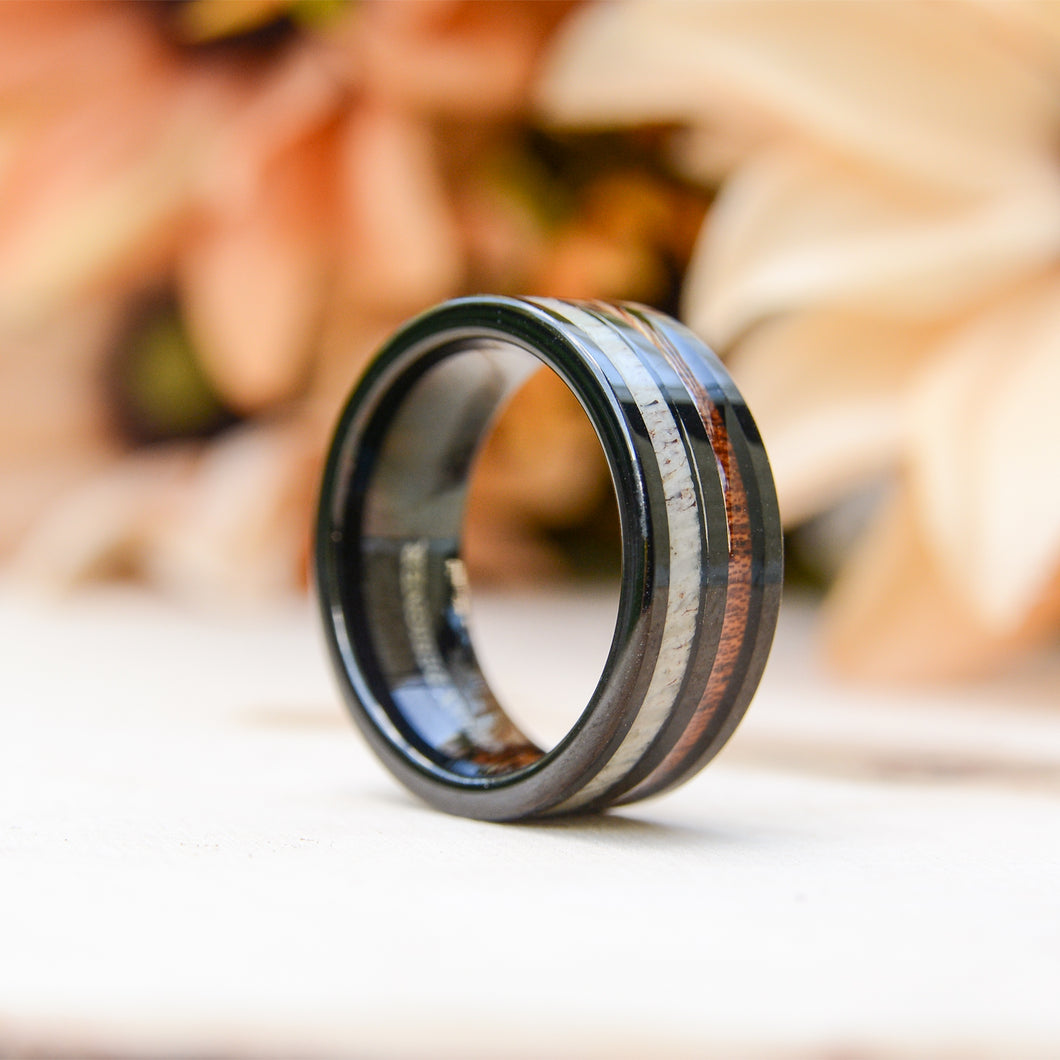 Wooden Rings - Antler and Wood Inlay Black  Tungsten Ring