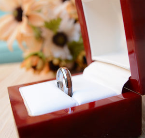 Wood Wedding Band For Women - 4mm Tungsten Wedding Ring Domed with Real Koa Wood Inlay