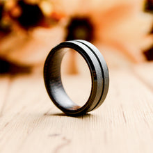 Mens wood wedding band: Black Tungsten Carbide Wedding Ring Wood Inlay Grooved Center Matte Finished