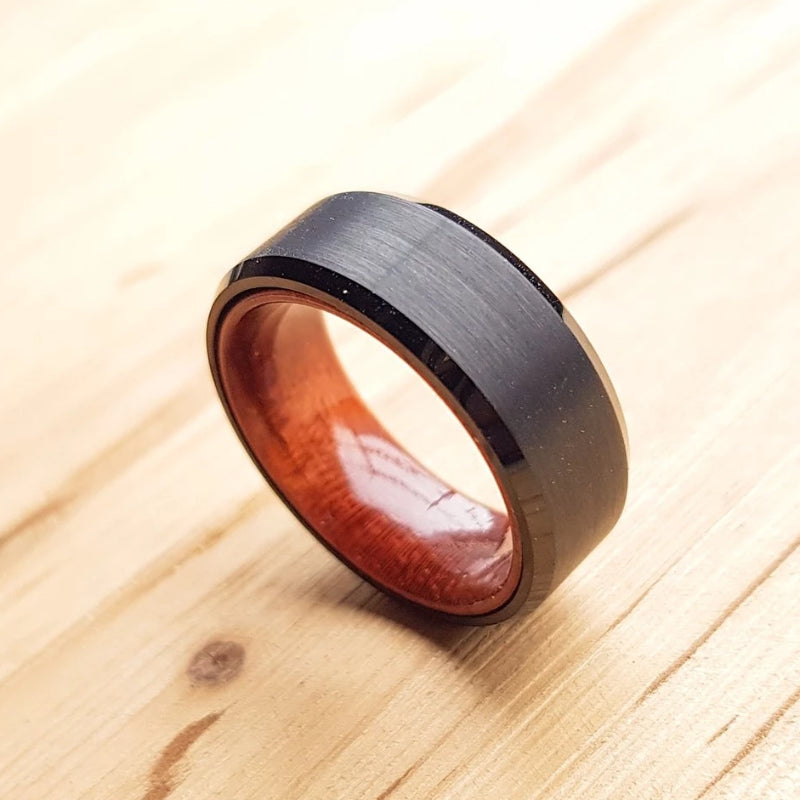 Black Tungsten Carbide Wedding Band Inlay Real Wood Brushed Center Beveled Style