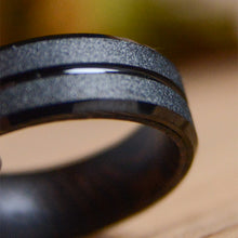Black Tungsten Carbide Wedding Ring Wood Inlay Matte Finished
