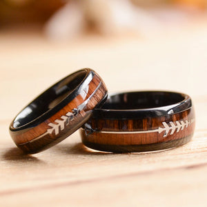 wooden wedding ring set- tungsten with koa wood inlay ring
