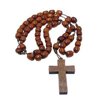 Handmade Wooden Beads Catholic Rosary Necklace with Cross