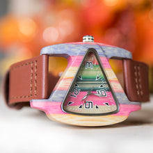 UD Engraved Laides Triangle Colorful Wood Watch With Premium Leather Strap