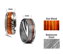 Match His and Hers Damascus Steel Pattern Wedding Band Sets with Koa Wood Inlay