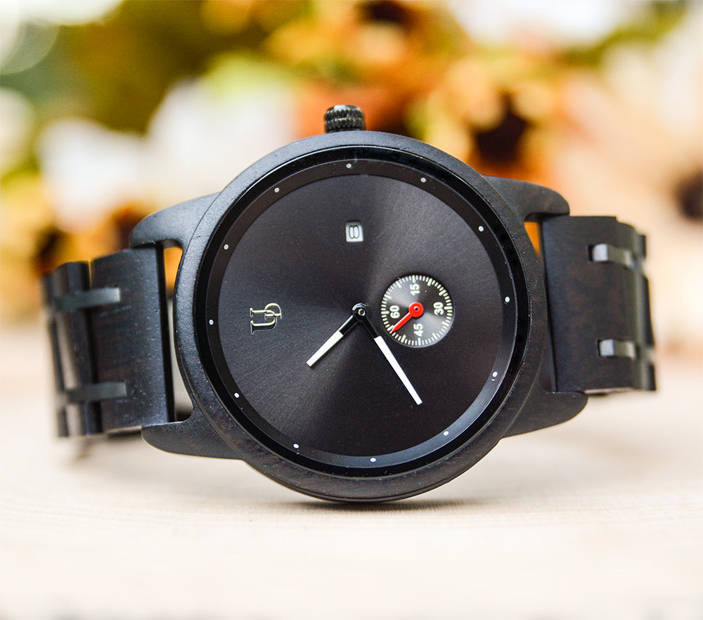 Mens Minimalist Round Black Wooden Watches/Wood & Stainless Steel Combined Watch Band,Wood and Metal Watch