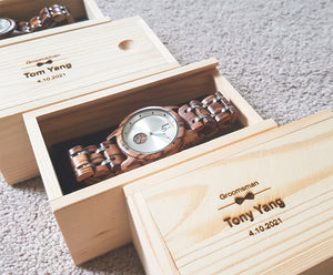 Groomsmen Gifts - Mens Wooden Watch Luxury Wood & Stainless Steel Combined Watch Band