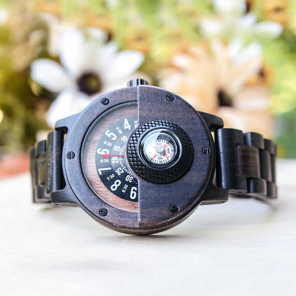 UD Handmade Compass Wood Watch For Men