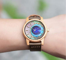 UD Handmade Unisex Peacock Feather Pattern Casual Leather Wooden Watch