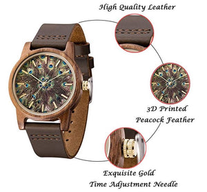 Handmade Unisex Peacock Feather Pattern Casual Leather Wood Watch